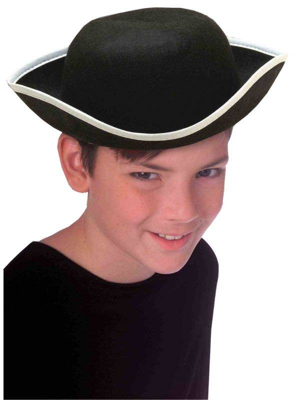Kids Colonial White Trim Tricorn Hat Costume Accessory Main Image