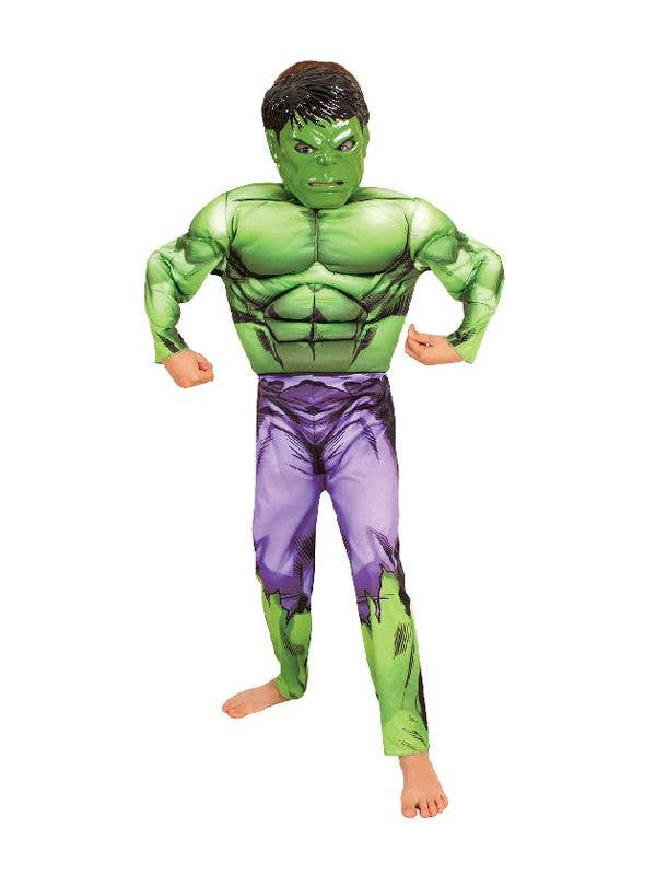 The Hulk Boyu0027s Superhero Costume Front View  sc 1 st  Heaven Costumes & Boys Avengers Hulk Muscle Chest Costume | BOYS COSTUMES