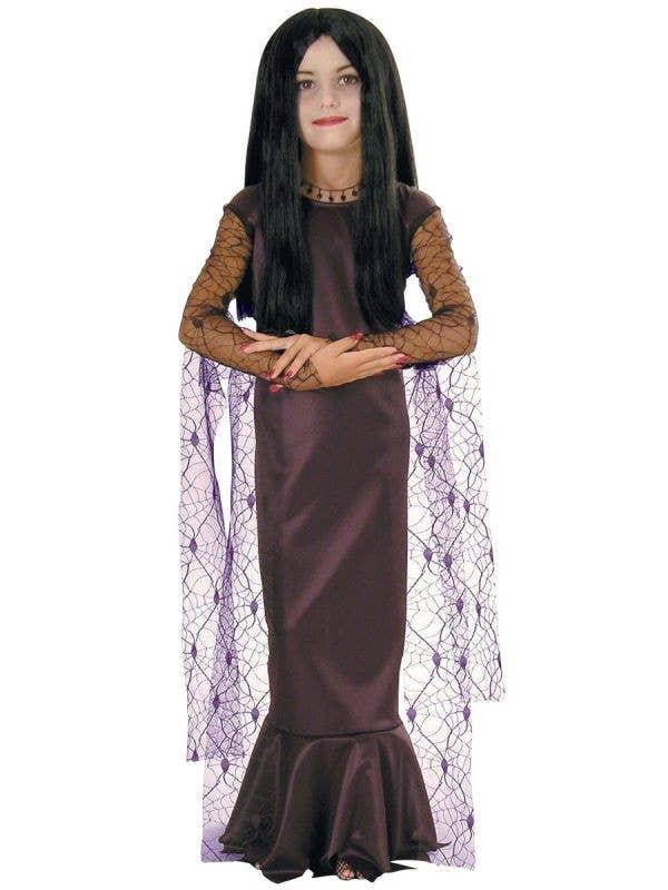 Girls Morticia Addams Halloween Fancy Dress Costume Main Image