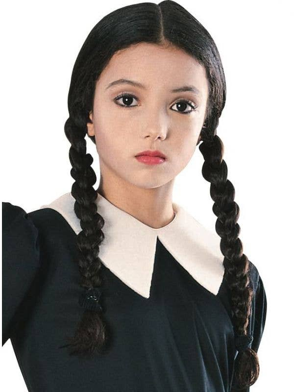 Girls Black Wednesday Addams Wig with Plaits