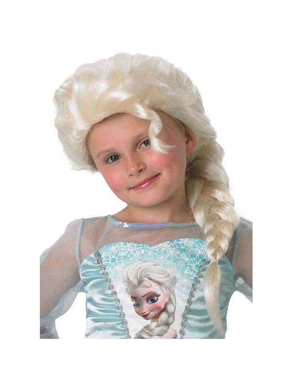 Girls Officially Licensed Blonde Braid Elsa Costume Wig
