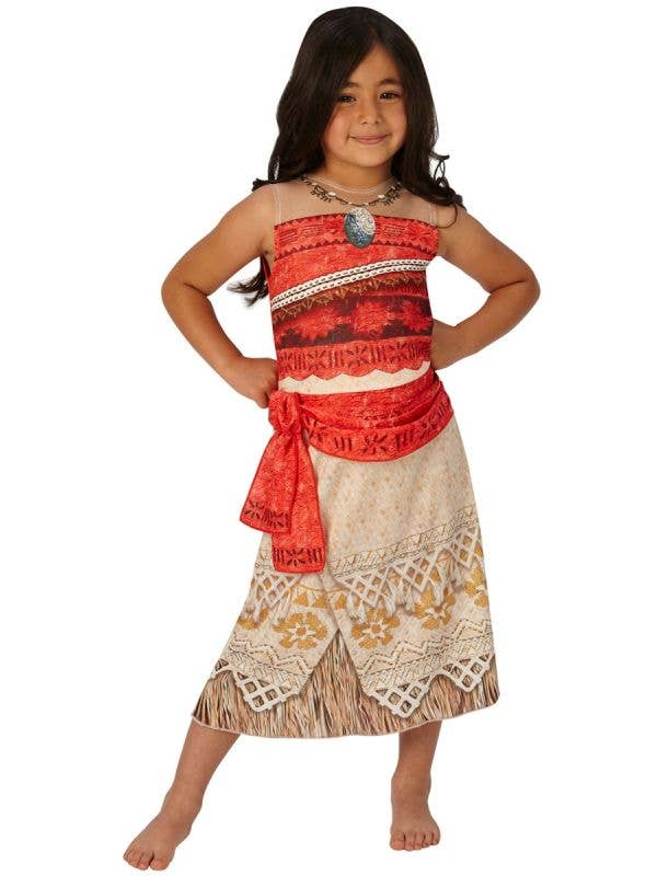 Classic Girls Moana Movie Character Fancy Dress Costume Front View