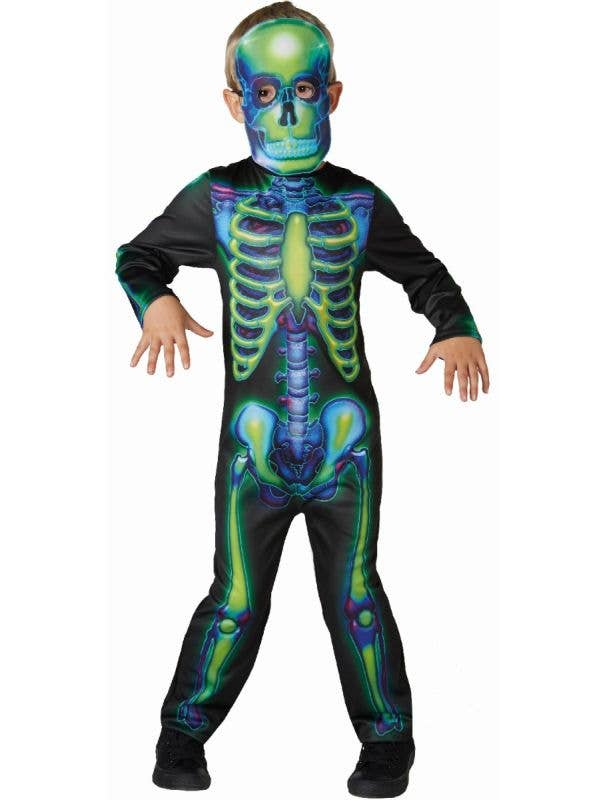 Kids Rubies boys blue and green glow in the dark halloween skeleton suit costume - Main Image