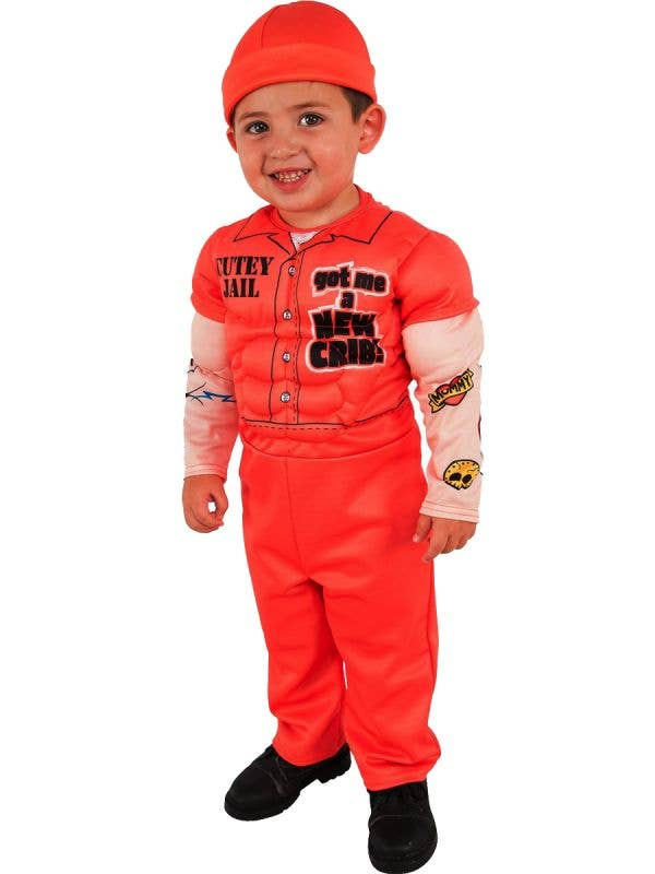 Little Boys Cute Orange Prisoner Convict Costume Main Image