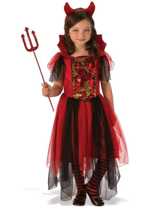 Colour Magic Devil Girls Halloween Fancy Dress Costume Main Image