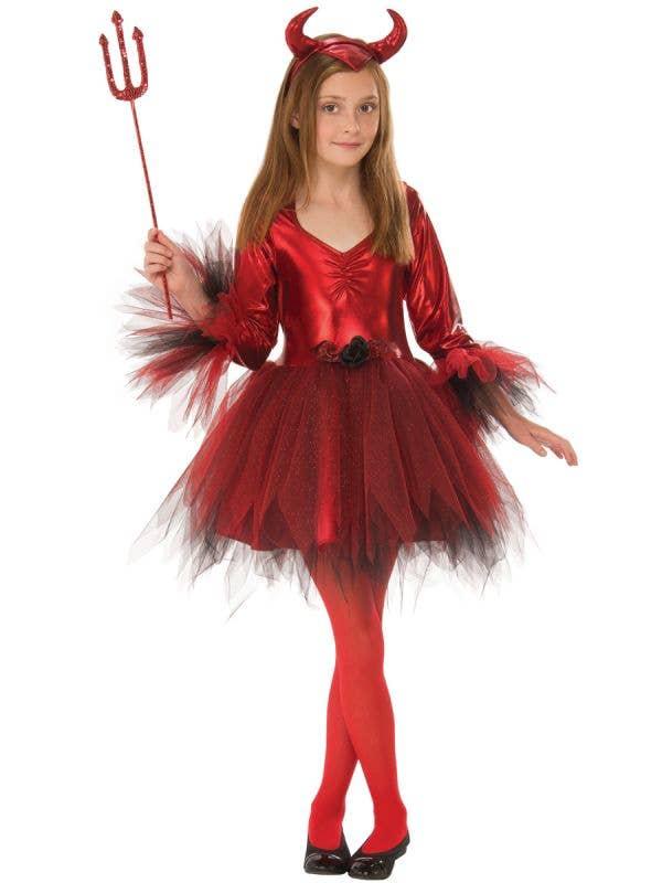 Metallic Red Classic Devil Girls Halloween Costume - Main Image