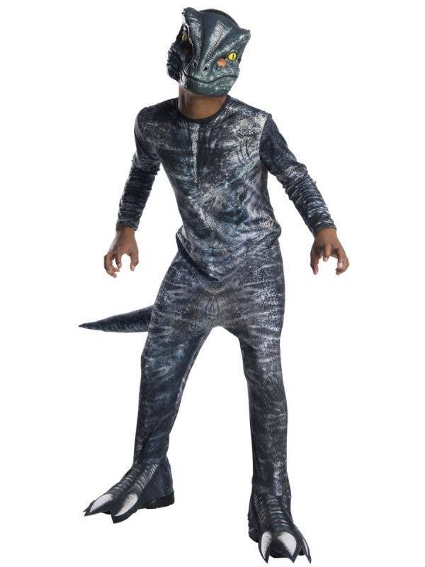 Blue Jurassic World Velociraptor Dinosaur Kids Fancy Dress Book Week Costume Main Image
