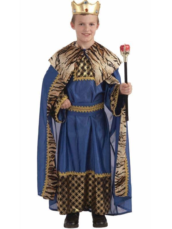 Royal Blue King of the Kingdom Boys Medieval Book Week Fancy Dress Costume Main Image