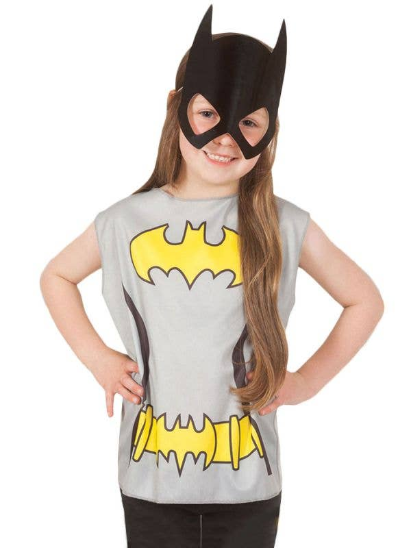 Girl's Batgirl Shirt and Mask Dress Up Kit Superhero Costume