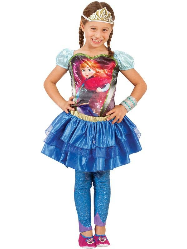 Girls Dark Blue Satin Disney Anna Tutu Skirt Main Image