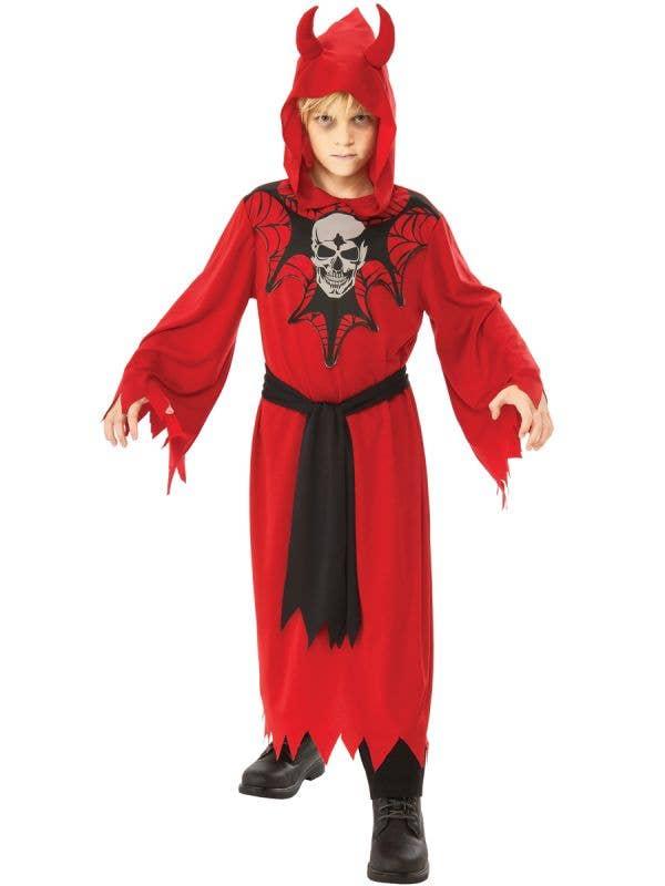 Boys Skeleton Red Devil Halloween Fancy Dress Costume Main Image