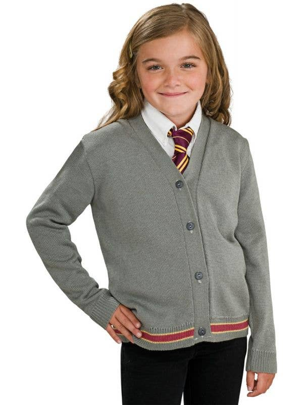 Girl's Grey Knitted Harry Potter Hermione Granger Cpstume Sweater Jumper With Buttons Fancy Dress Costume Main Image