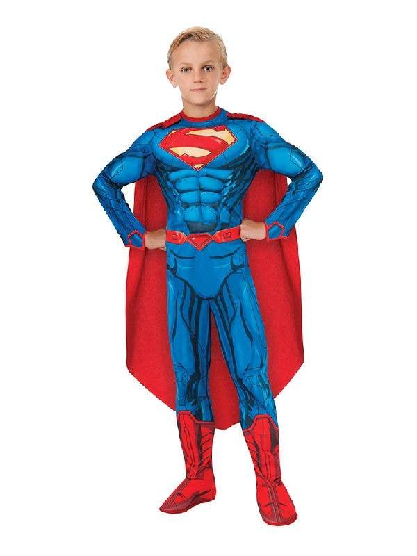 Superman Boys Muscle Chest Deluxe Digital Print Superhero Costume