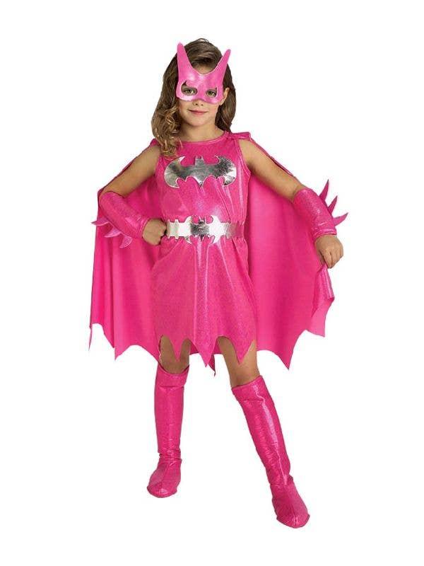 Pink Girl's Batgirl Superhero Fancy Dress Front View