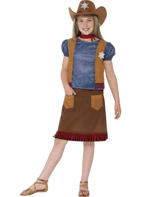 Wild West Cowgirl Kids Fancy Dress Costume Main Image