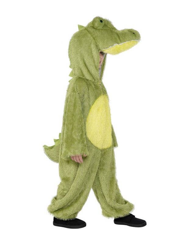 Kid's Green Crocodile Animal Onesie Costume Side View