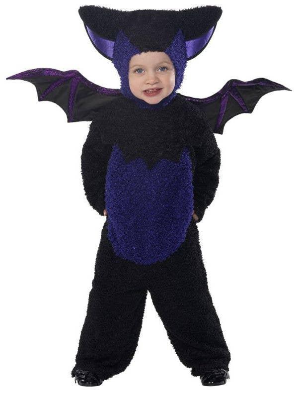 Toddler's Black Bat Onesie Halloween Costume with Wings