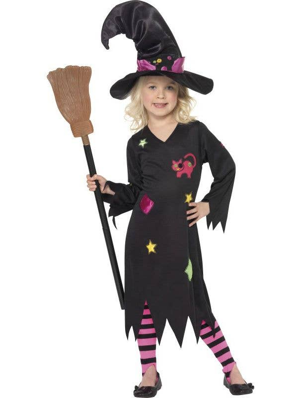 Girl's Black Witch Halloween Costume Front View