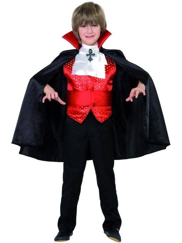 Boy's Red And Black Dracula Vampire Fancy Dress Costume For Halloween Main Image