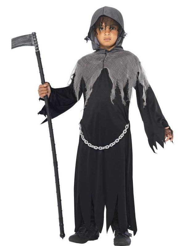 f21b19788f Boy s Grim Reaper Black and Grey Halloween Costume Front