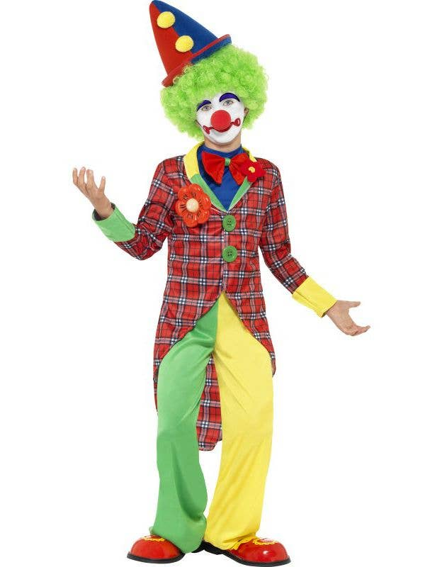 Boy's Circus Clown Green and Yellow Carnival Costume Front