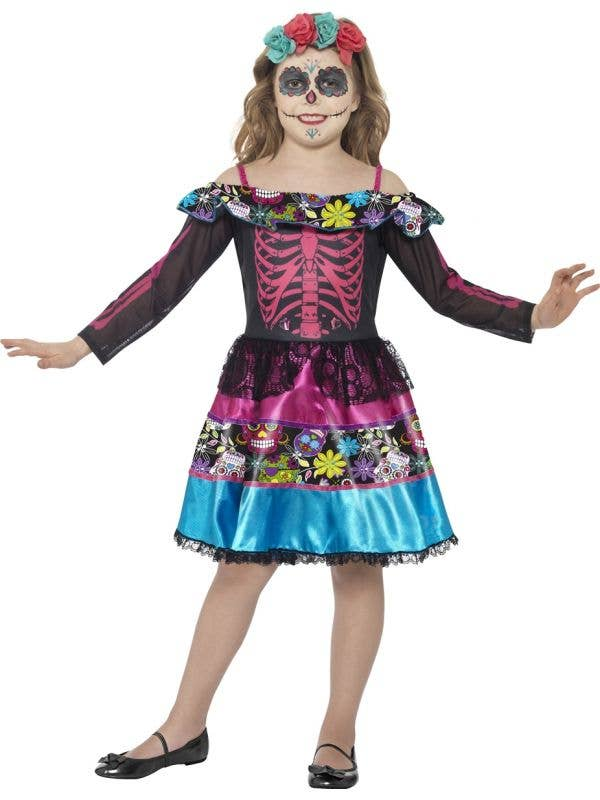 Girls Sugar Skull Day of the Dead Costume Front Image