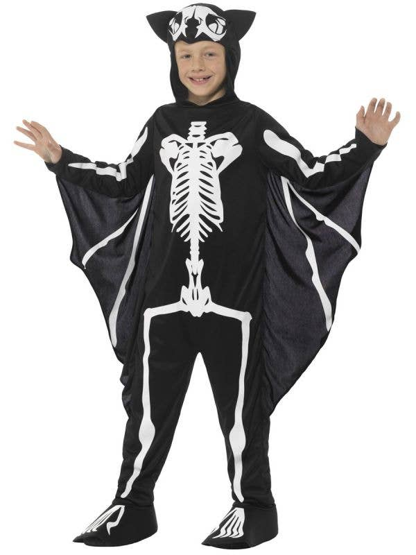Boys Bat Skeleton Halloween Fancy Dress Costume Front Image