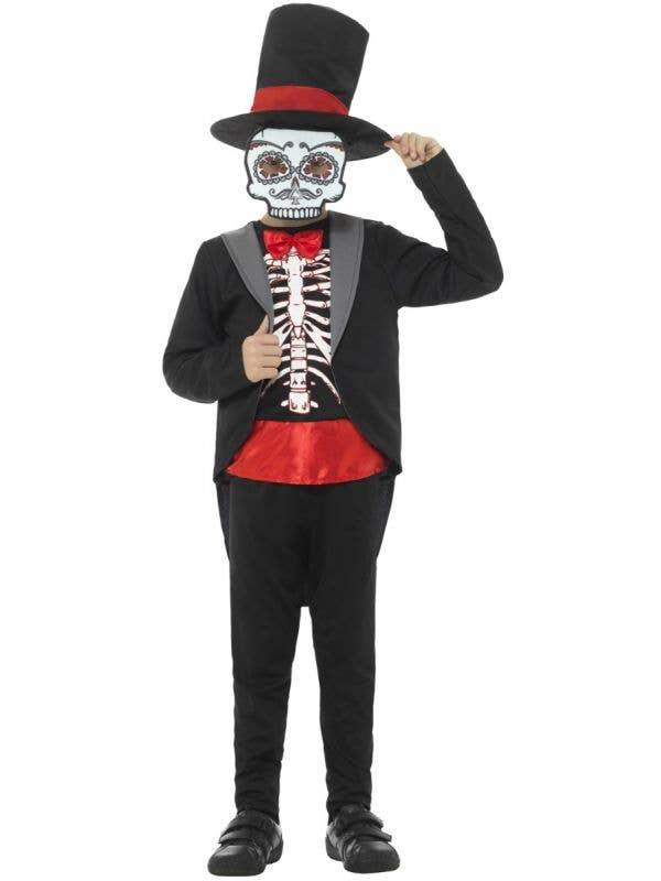 Boy's Halloween Day Of The Dead Sugar Skull Kid's Black Tuxedo Skeleton Fancy Dress Costume Main Image