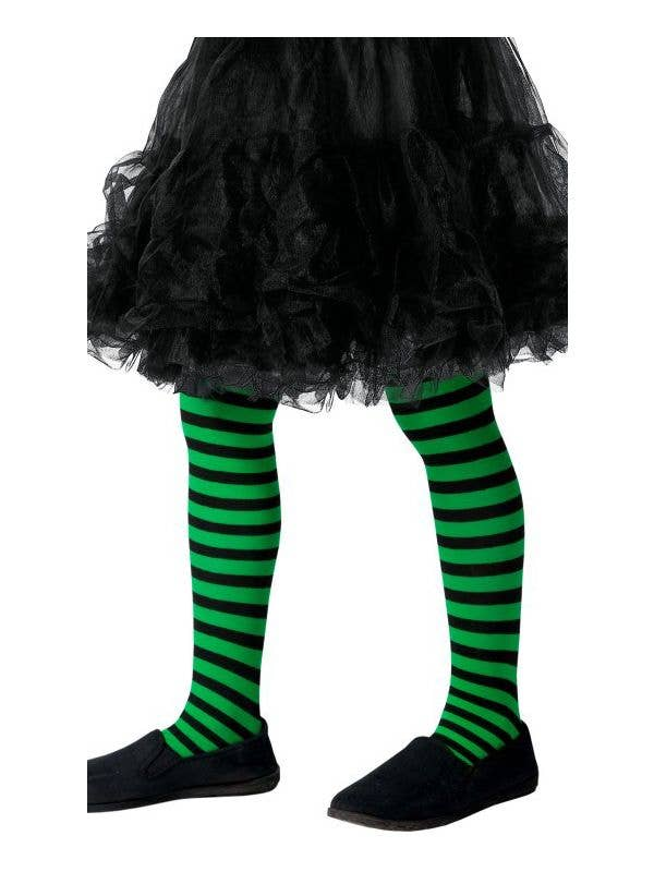 e1e90ffb175e2 Girls Full Length Green and Black Striped Halloween Stockings Main Image