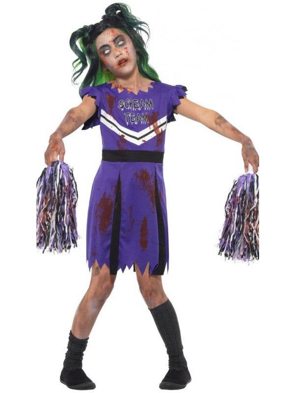4bd1c6488 Girls Purple Zombie Cheerleader Halloween Fancy Dress Costume Front Image