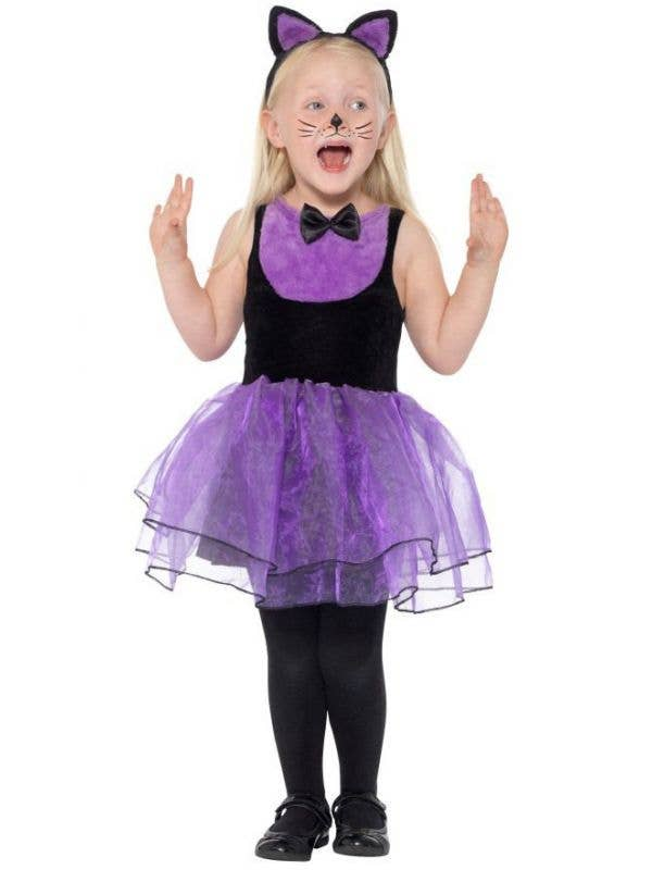 toddler girls cute purple and black cat halloween costume front image