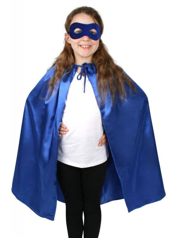 Children's Blue Superhero Satin Cape and Mask Set
