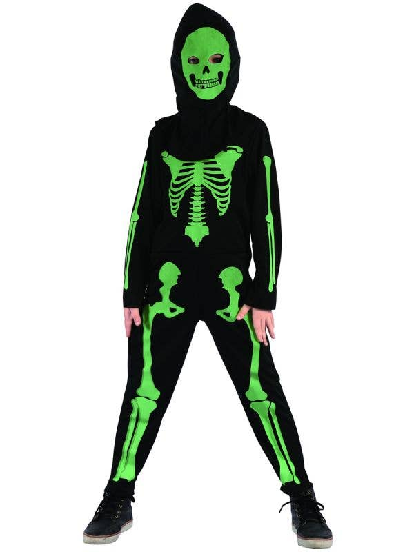 Boys Black and Green Skeleton Halloween Fancy Dress Costume Main Image
