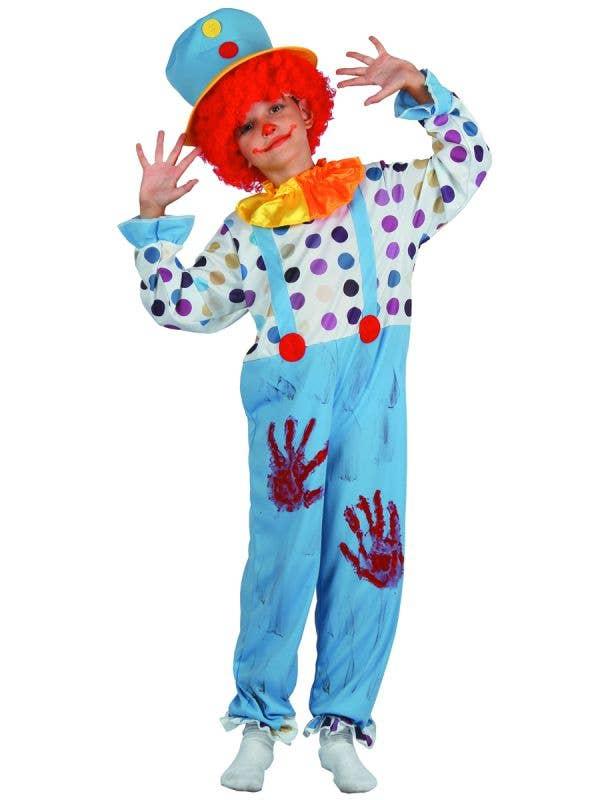 Boys Creepy Bloody Clown Halloween Fancy Dress Costume Main Image