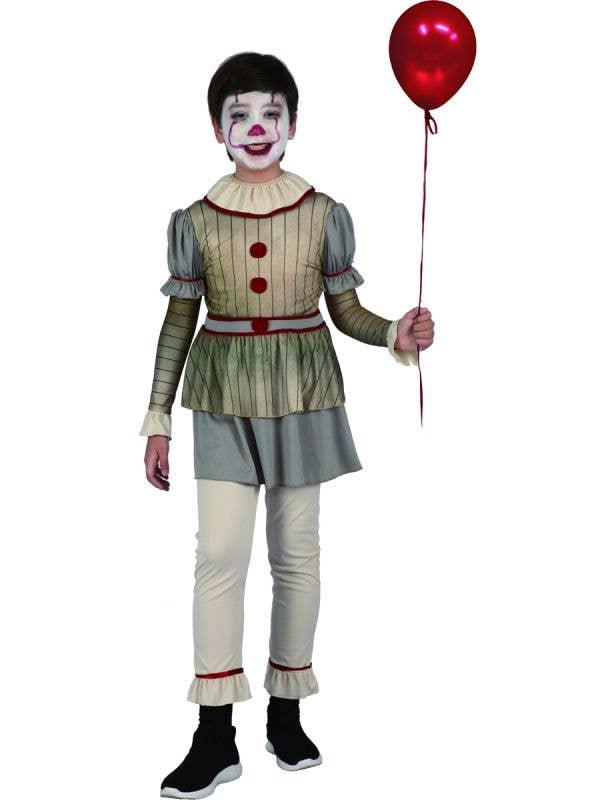 Boys Creepy Pennywise Clown Halloween Fancy Dress Costume Main Image