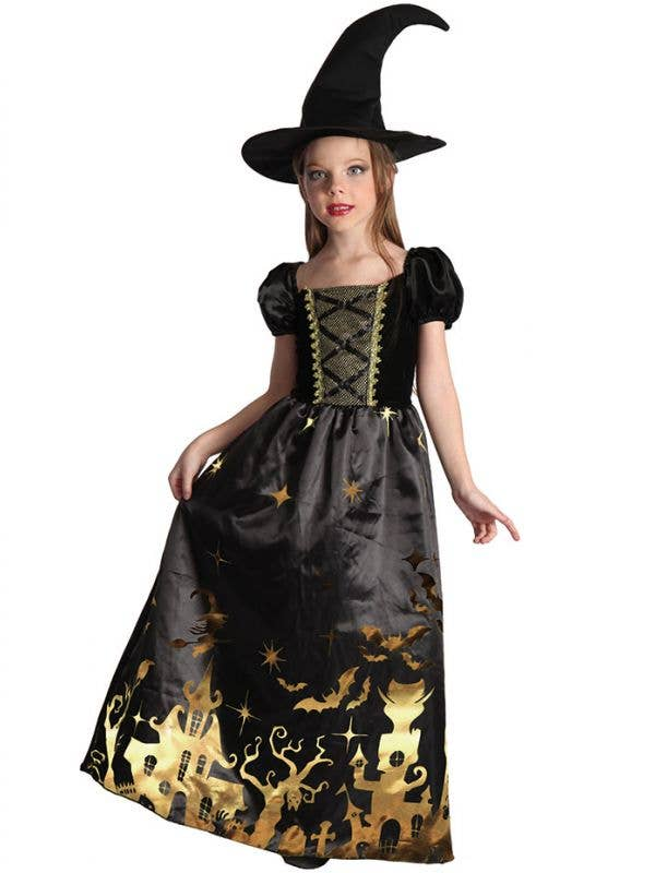 Black and Gold Girl's Witch Halloween Fancy Dress Costume