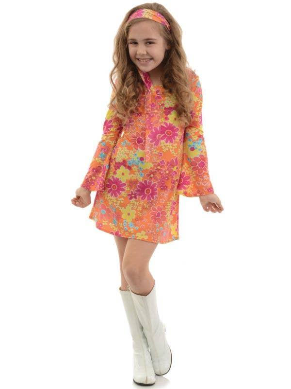 Girls Flower Child Hippie Dress Costume Main Image