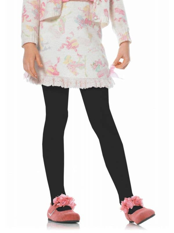 Girls Black Opaque Costume Tights Main Image