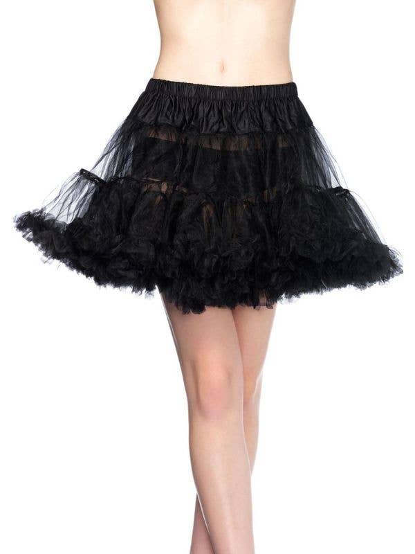 Black Thigh Length Ruffled Costume Petticoat