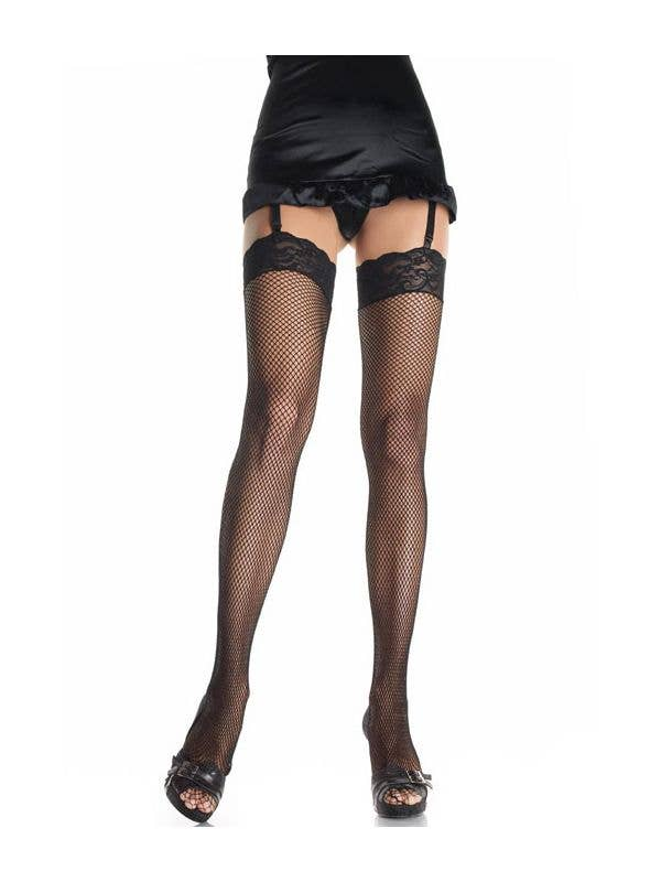 5f304037a Women s Sexy Black Fishnet Thigh High Costume Stockigns