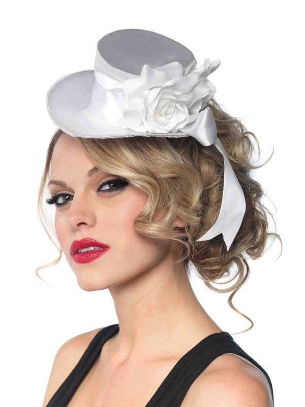 Satin White Mini Top Hat with Rose and Bow