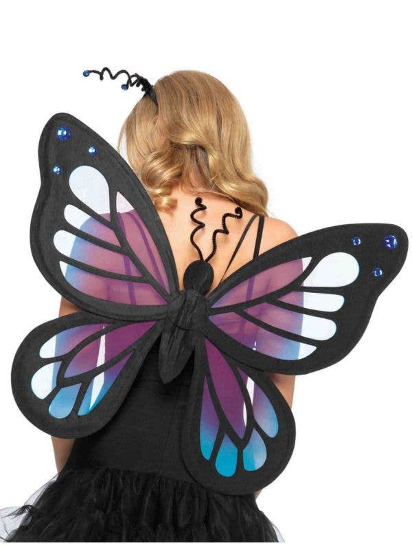Deluxe Butterfly Costume Wings Purple And Black Fairy Wings