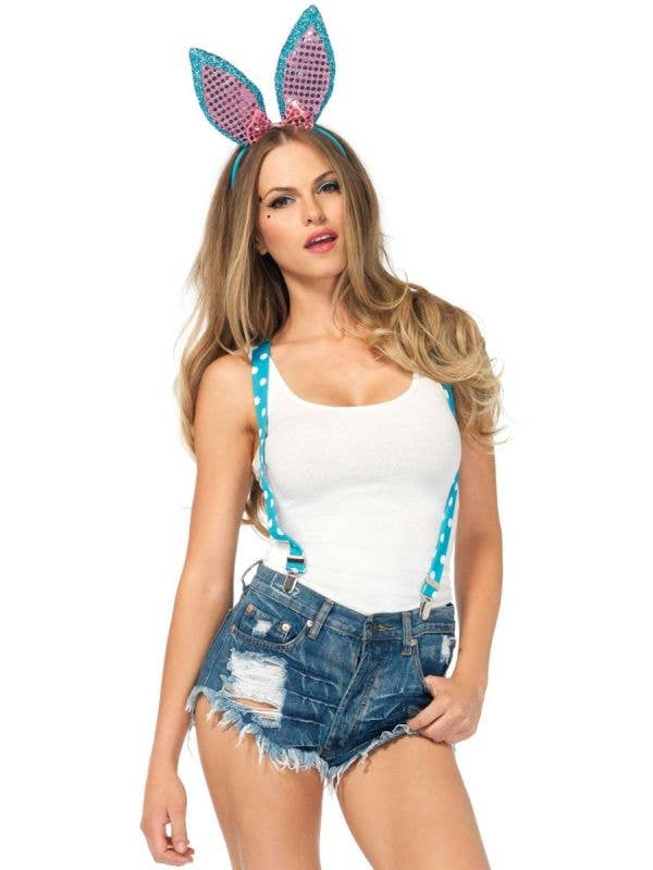 Women's Turquoise Sparkle Bunny Costume Accessory Kit Front Image
