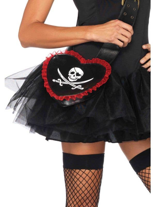 Women's Faux Leather Heart Shaped Skull And Swords Pirate Costume Cross Body Bag With Red Trim Main Image