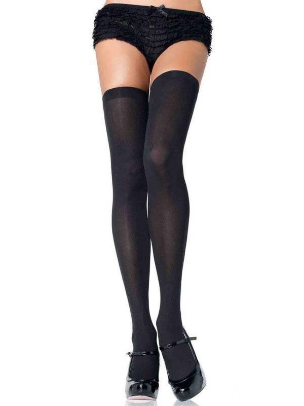 Women's Black Thigh High Opaque Costume Stockings