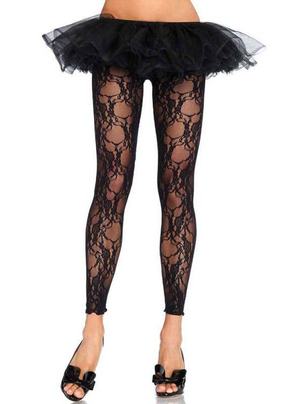 Black Floral Lace Footless Stockings Front View