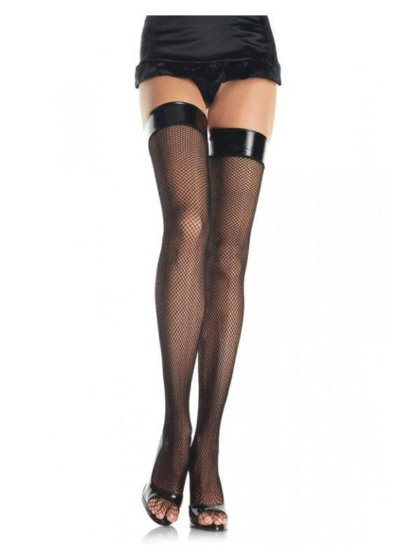 bc5613b57 Black Vinyl Top Thigh High Costume Stockings