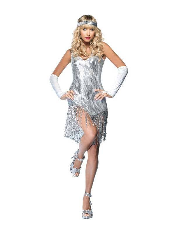 d2bd949b6ae36 Sequined Roaring 20 s Silver Flapper Dress Costume Main
