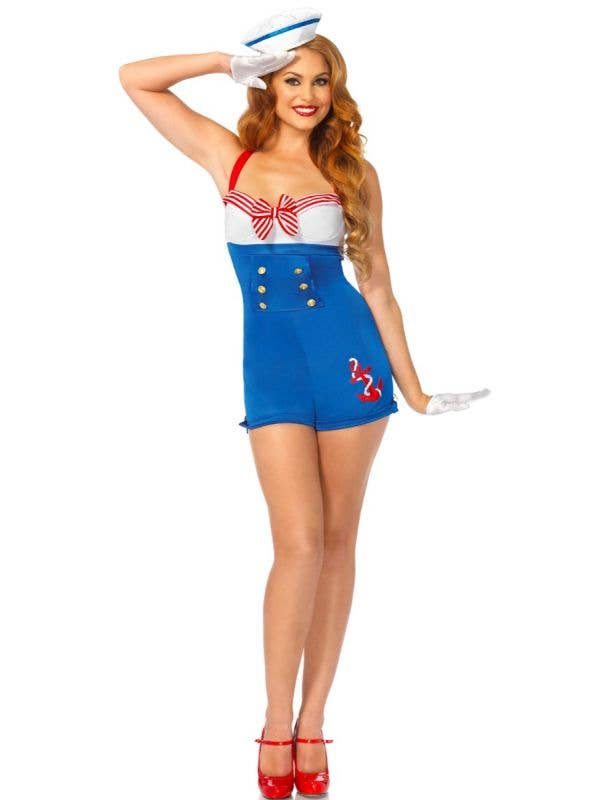 1940's Sexy Women's Pin Up Sailor Costume Front View
