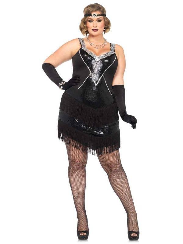 Plus Size Women's Black 1920's Sexy Flapper Costume Main Image